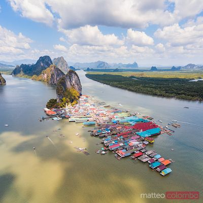 Aerial of Ko Panyi fishing village, Phang Nga bay, Thailand
