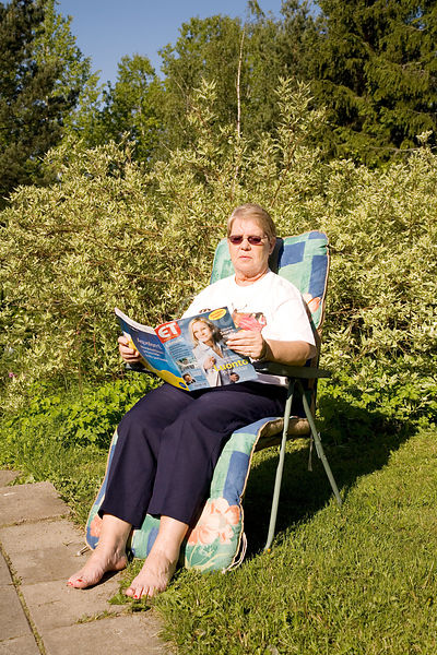 Senior woman spending summer day