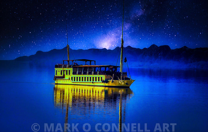 art,photo,painting,airbrush,boat,river,nile,egypt,cruising,stars,night,yellow,blue