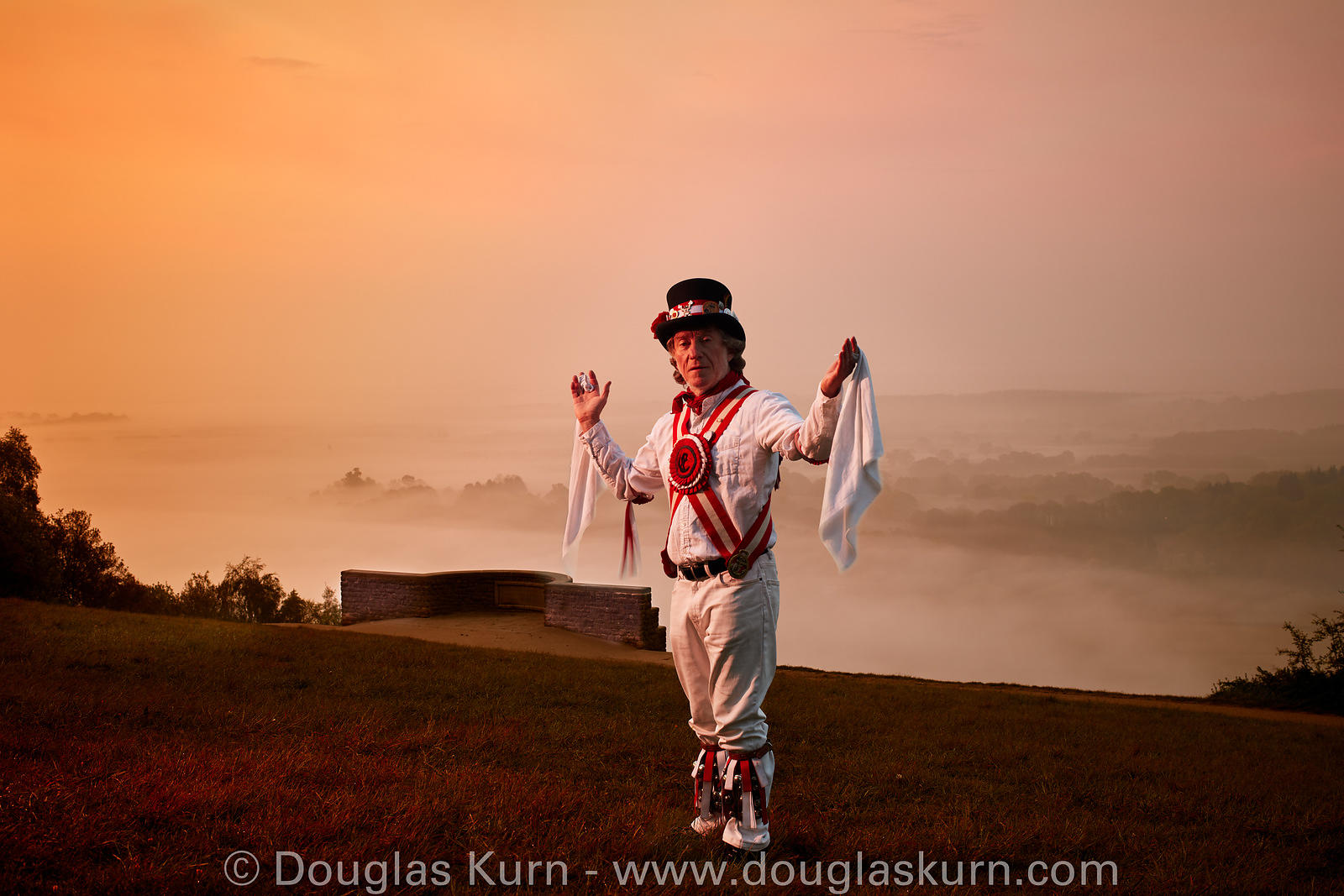 Environmental portrait of a Morris Dancer, greeting the sun on May day morning.