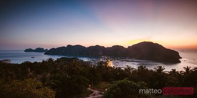 Panoramic of Ko Phi Phi Don at sunset, Krabi province, Thailand