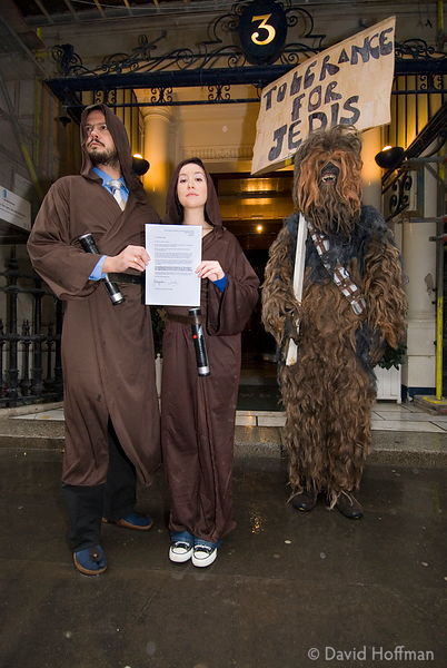 Jedi call for religious tolerance Jedi knights Yunyun and Umada with Wookiee Chewbacca, call for acceptance of the Jedi relig...