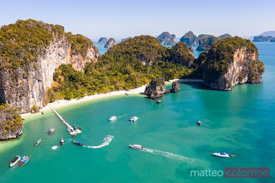 Aerial view of beach at Hong island, Railay, Thailand
