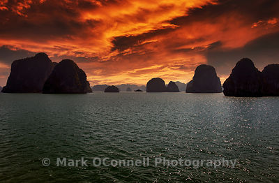 Yacht in Halong Bay,sunset Vietnam