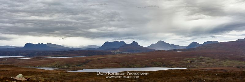Image - Inselberg panorama. LtoR Suilven, Canisp, Cul Mor, Stac Pollaidh, Cul Beag and Coigach.  Viewed from Achnahaird, West...