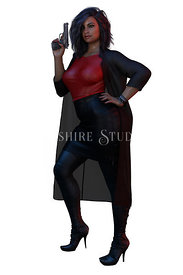 Urban Fantasy Woman in Red Leather