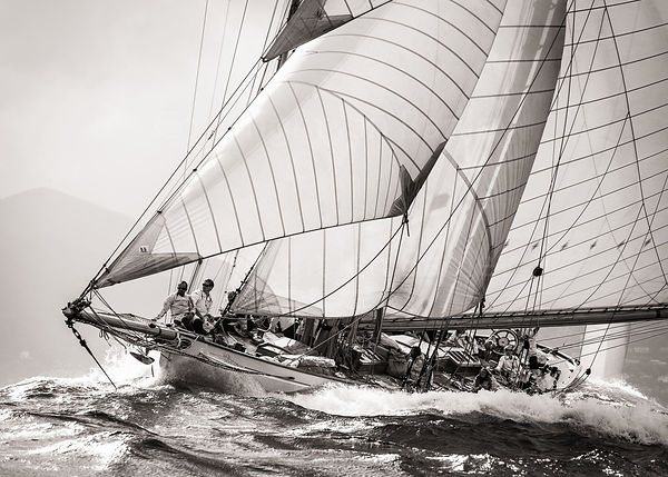Classic yacht Moonbeam III rides the waves off Cannes EXC. light sepia