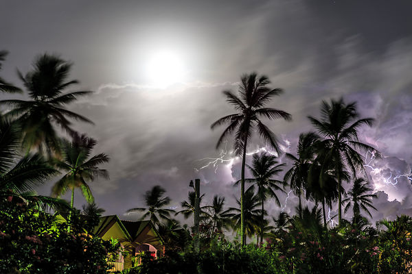 Lightning Storm during Full Moon in Dominican Republic