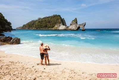Adult couple at Atuh beach, Nusa Penida, Bali, Indonesia