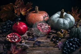 Autumn produce on a rustic wooden table