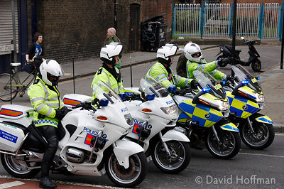Motor cycle police on duty during a Love Music Hate Racism march 27 April 2008