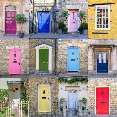 Collage of old doors, Cotswold, UK
