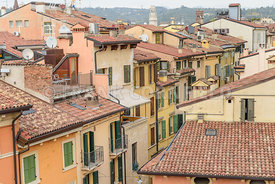 Rooftops of houses and apartments in central Verona, Italy.