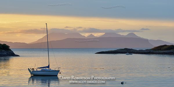 Prints & Stock Image - Yacht at anchor, near Glenuig, Moidart, Lochaber, Highland, Scotland.  View to the Small Isles of Eigg...
