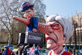 #124660  An effigy of the British Prime Minister, Theresa May MP, created by Brexiteers (in favour of Brexit) who demonstrate...