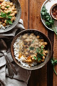 Vegan chickpea curry three bowls