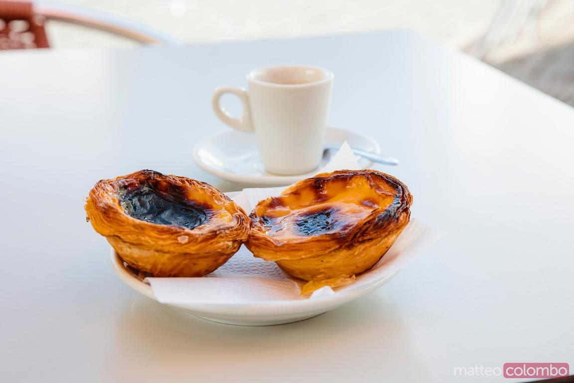 Two egg tart and coffee, Lisbon, Portugal