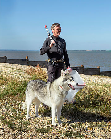 Wayne Dixon and his dog Koda, for Waitrose Weekend