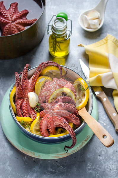 Hot octopus salad with roasted lemon and garlic