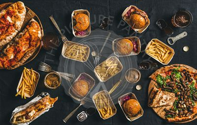 Lockdown takeaway fast food dinner from delivery service concept