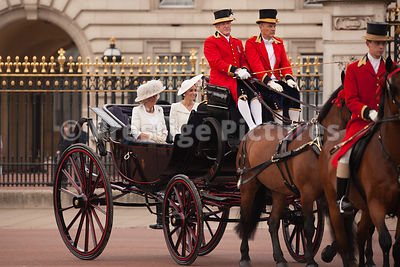 Catherine, Duchess of Cambridge riding with Camilla, Duchess of Cornwall to the Trooping the Colour Ceremony from Buckingham ...