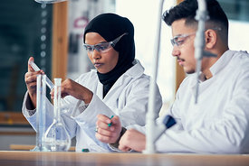 High-school students at work in chemistry-class