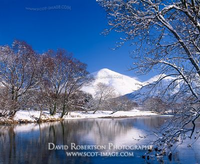 The River Fillan and Ben More in Strath Fillan, snow