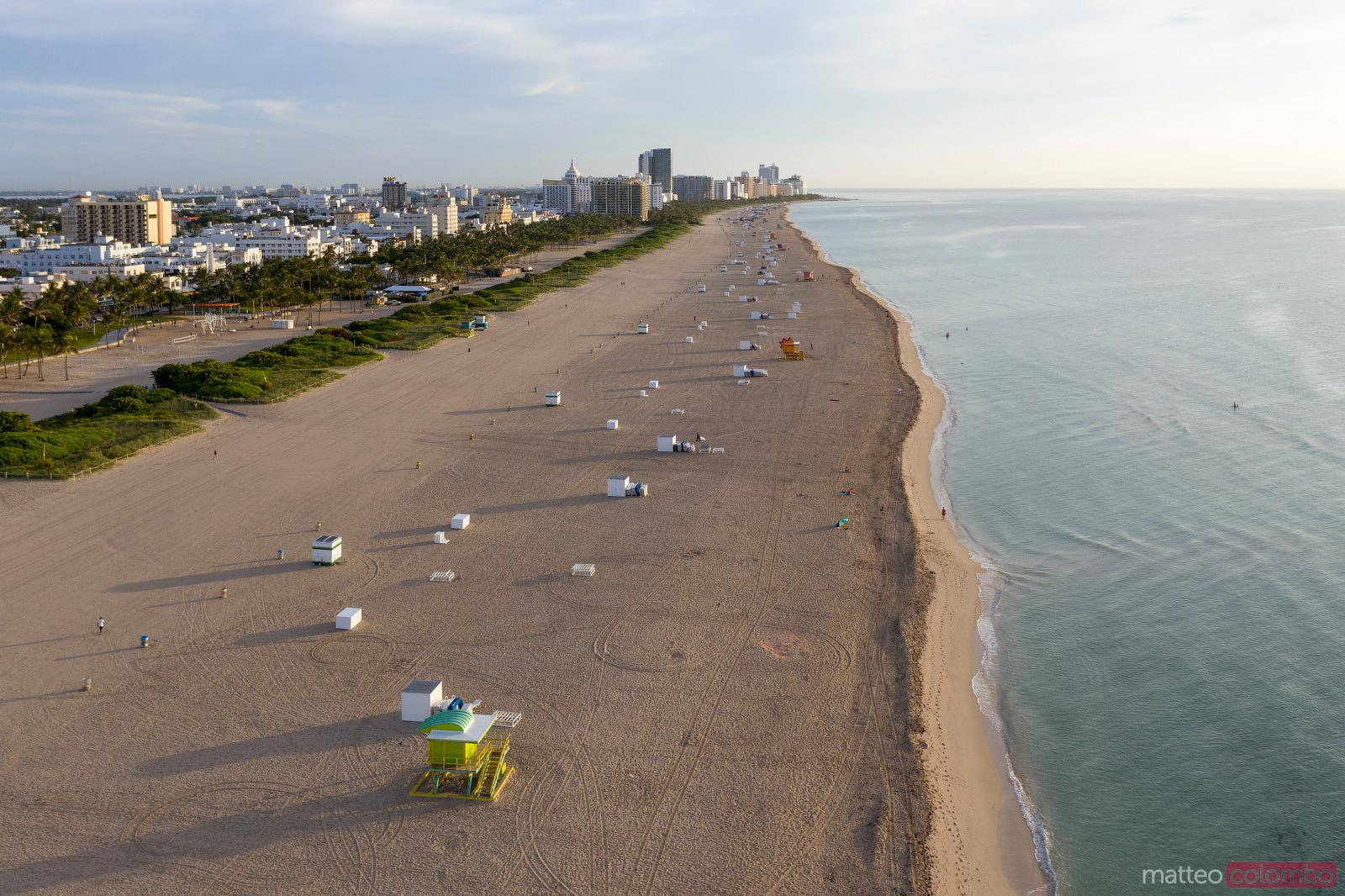 Aerial view of lifeguard cabin and South beach, Miami