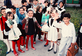 #4799,  Students at the end of the day, The Lord Byron School, Leninakan (now Gyumri), Armenia.  At 11.41am on the 7th Decemb...