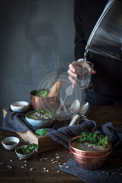 Brocolli soup in a rustic kitchen