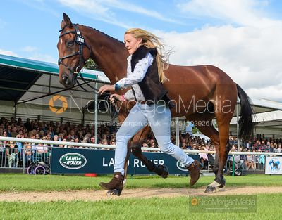 Imogen Murray and IVAR GOODEN at the trot up, Land Rover Burghley Horse Trials 2019