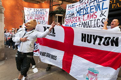 English Defence League march to Tower Hamlets as a provocation towards the largely Muslim population.