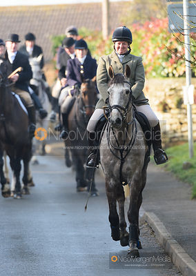 Caroline Harrison at the meet. The Belvoir Hunt at Stonesby 5/2