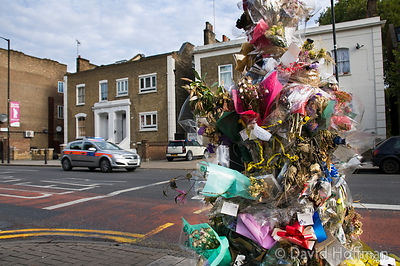 roadside memorial to 'Pitbull' Eddie Thompson who was shot on 6 September 2009 while he sat in his car at this spot in Hackney