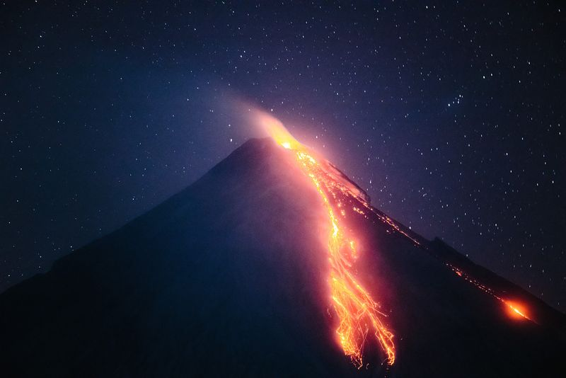 Mayon volcano eruption at night, Philippines