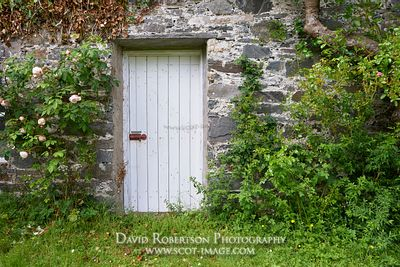 Image - White door in walled garden, Colonsay House  and Gardens, Isle of Colonsay, Argyll, Scotland
