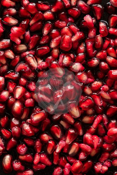 Closeup of pomegranate seeds