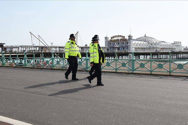 Coronavirus Brighton Seafront...Residence of Brighton & Hove practice social distancing on Brighton Seafront...Pictured are p...