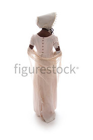 A semi-silhouette of a Regency woman in a pink dress – shot from eye level.