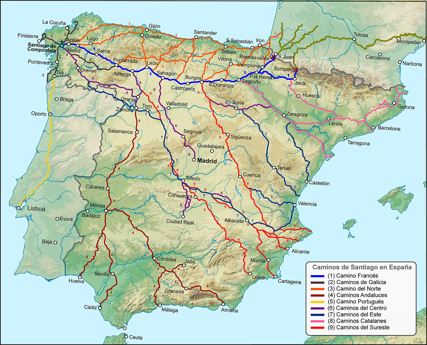 The routes to Santiago in Spain