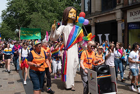 #125001,  Effigy of Jesus by the Liberty Church, Blackpool at the Pride march, Oxford, Saturday 1st June, 2019.