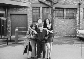 #75024  Having fun outside the building, Liverpool Free School, Liverpool  1971.  Also known as the Scotland Road or Scottie ...