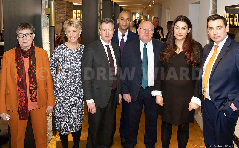 England, UK . 18.2.2019. London . Seven Labour MP's, 'The Independent Group', L-R Ann Coffey, Angela Smith, Chris Leslie, Chu...