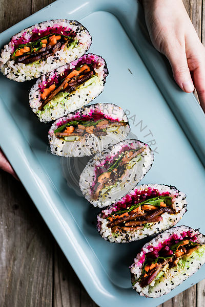 Rainbow onigirazu sushi sandwich with crispy maple miso tofu