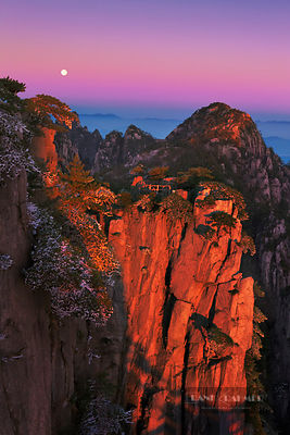 Mountain impression sunrise at Huangshan - Asia, China, Anhui, Huangshan, Beginning-To-Beleive Peak (Yellow Mountain) - digital