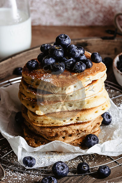 CLoseup of a stack of pancakes