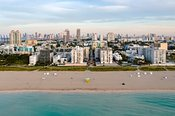 Aerial view of South beach and downtown Miami at sunrise