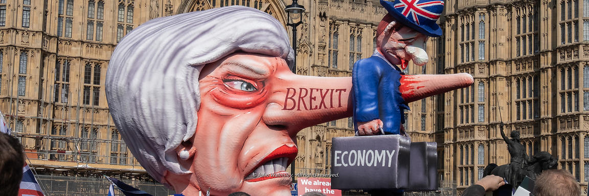 #124657  An effigy of the British Prime Minister, Theresa May MP, created by Brexiteers (in favour of Brexit) who demonstrate...