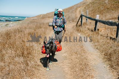 A woman and dog wearing backpacks hiking up a trail