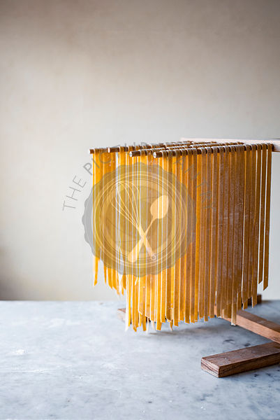 Pasta Drying on Wooden Rack
